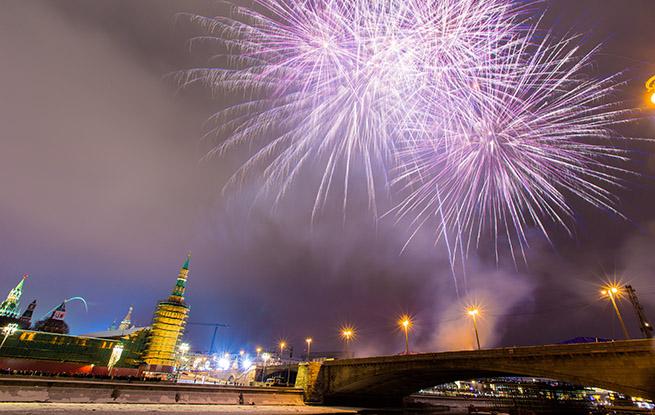 (组图)2019莫斯科跨年烟火炫彩夺目 民众街头狂欢